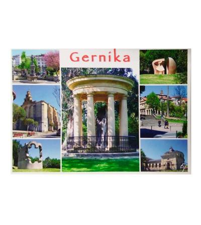 Postal del viejo tronco del Árbol de Gernika, rodeado de 6 imágenes típicas