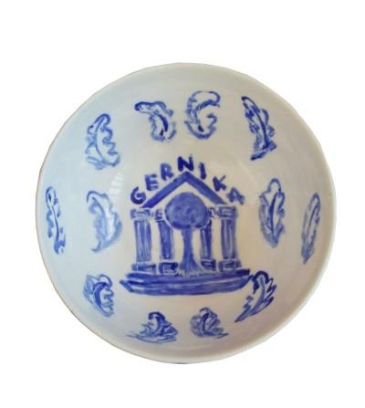 Cuenco de cerámica con imagen del árbol de Gernika